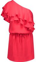 Haute Hippie One-Shoulder Ruffled Silk Mini Dress