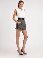 Diane von Furstenberg Dawn Leather-Trim Shorts