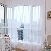Window Curtain, Lotus.flower 2 PCS Pure Color Tulle Door Drape Panel Sheer (A)