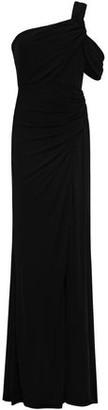 Badgley Mischka One-shoulder Ruched Stretch-jersey Gown