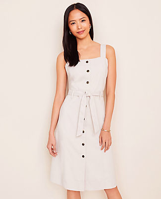 Ann Taylor Petite Square Neck Button Dress
