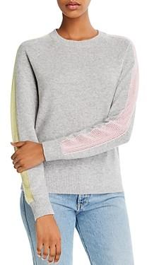 Minnie Rose Cashmere Mesh-Stripe Sweatshirt