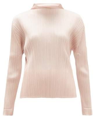 Pleats Please Issey Miyake Mock-neck Plisse Top - Womens - Light Pink