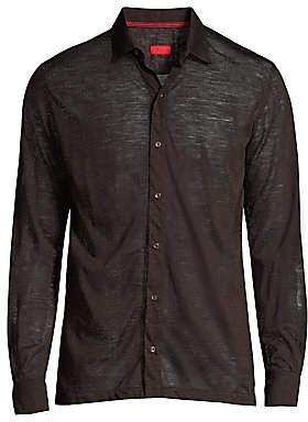 Isaia Men's Merino Wool Knit Collared Shirt
