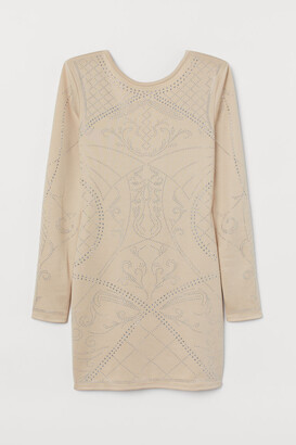 H&M Fitted Dress with Studs - Beige