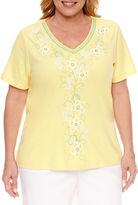 Alfred Dunner Short Sleeve V Neck T-Shirt-Plus