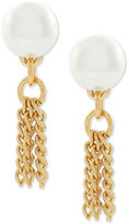 BCBGeneration Gold-Tone Imitation Pearl and Tassel Drop Earrings