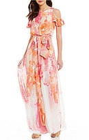 Vince Camuto Cold-Shoulder Sunset Floral Chiffon Ruffled Maxi Dress