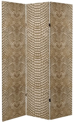Oriental Furniture 6 ft. Tall Double Sided Tan Snake Print Canvas Room Divider