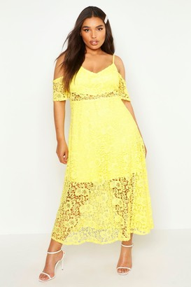 boohoo Plus Crochet Lace Premium Skater Dress