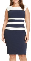 Lauren Ralph Lauren Plus Size Women's Two-Tone Stripe Sheath Dress