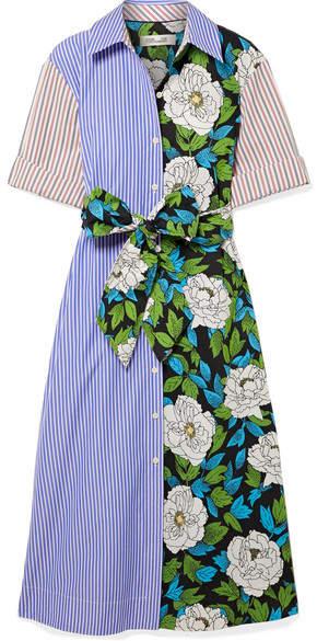 Diane von Furstenberg 拼布效果配腰带纯棉斜纹布中长连衣裙