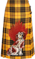 Gucci Appliquéd Plaid Wool Midi Skirt - Yellow