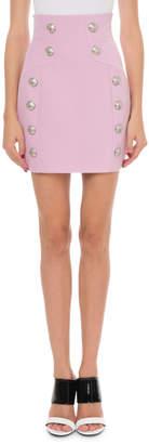 Balmain High-Waist Grain De Poudre Skirt