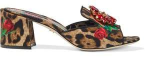 Dolce & Gabbana Crystal-embellished Printed Woven Mules