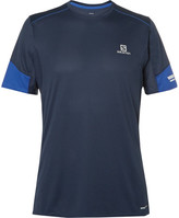 Salomon Agile Mesh-trimmed Advancedskin Activedry T-shirt - Storm blue