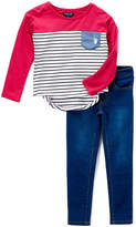 U.S. Polo Assn. Cranberry & Black Hi-Low Tee & Skinny Jeans - Girls