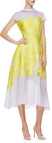 Lela Rose Cap-Sleeve Floral-Print Midi Dress, Citrine/Lilac