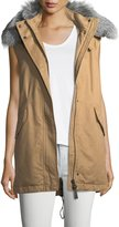 Derek Lam 10 Crosby Cotton Zip-Front Utility Vest w/ Fur Trim