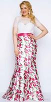 Mac Duggal Vibrant Floral Print Trumpet Plus Size Evening Dress