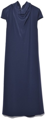 Co Cap Sleeve Mock Neck Dress in Navy