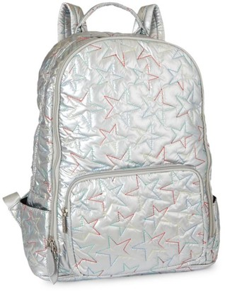 Bari Lynn Multicolor Star-Embroidered Metallic Backpack