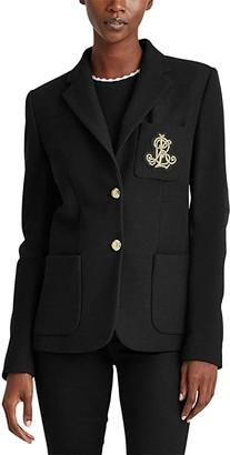 Lauren Ralph Lauren Patch Jacquard Blazer (Polo Black) Women's Clothing