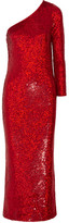 Ashish One-shoulder Sequined Silk-georgette Gown - Red