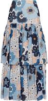 Chloé Floral-print Cotton-gaufré Maxi Skirt - Blue