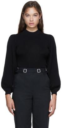 Proenza Schouler Black Knit Pleated Sweater