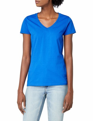 Fruit of the Loom Womens V-Neck Short Sleeve T-Shirt - Lady-Fit V-Neck Shirt in Various Colours and Sizes - White - Small