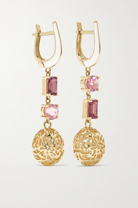 Larkspur & Hawk Arbor Eyelet 14-karat Gold, Tourmaline And Enamel Earrings - one size