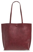 Street Level Faux Leather Tote & Tassel Clutch - Burgundy