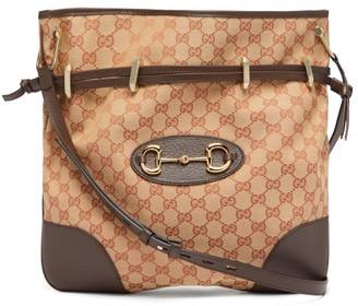 Gucci 1955 Gg-jacquard Horsebit Shoulder Bag - Womens - Beige Multi