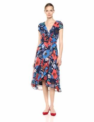 Gabby Skye Women's Short Sleeve Floral Print V-Neck Ruffled A-Line Dress