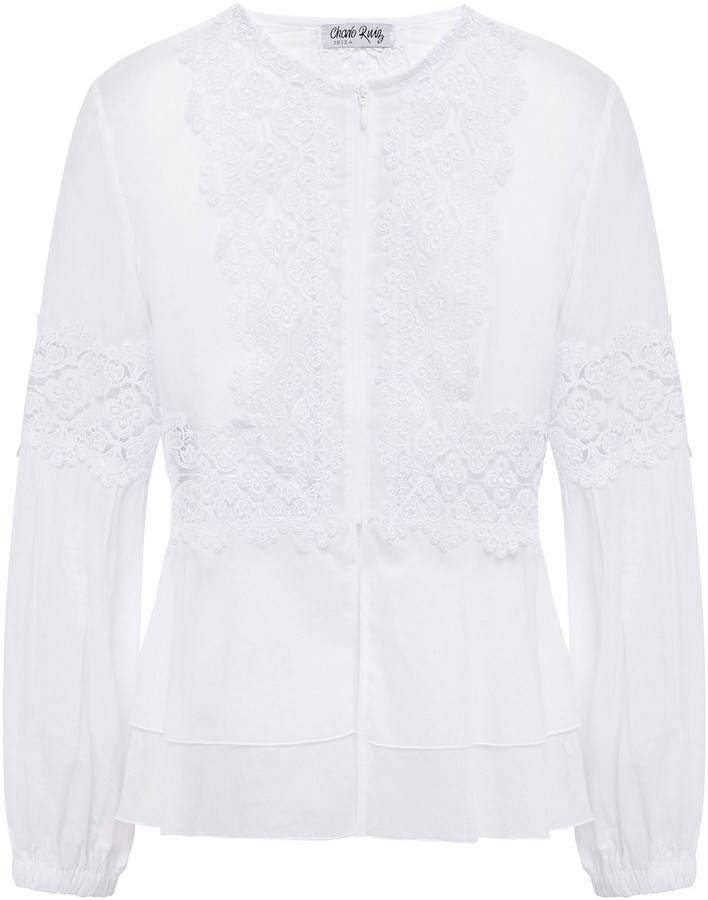 Charo Ruiz Ibiza Arae Crocheted Lace-paneled Cotton-blend Voile Peplum Jacket