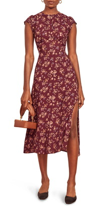 Reformation Zeta Floral Crepe Midi Dress