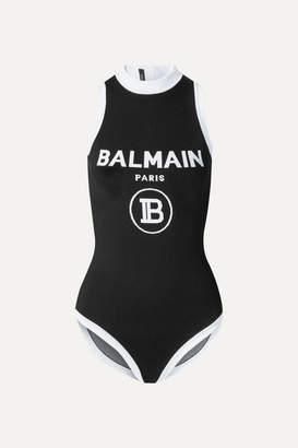 Balmain Intarsia Stretch-knit Bodysuit - Black