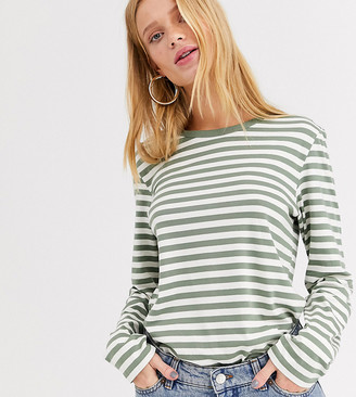 Monki long sleeve crew neck top in green and white stripe