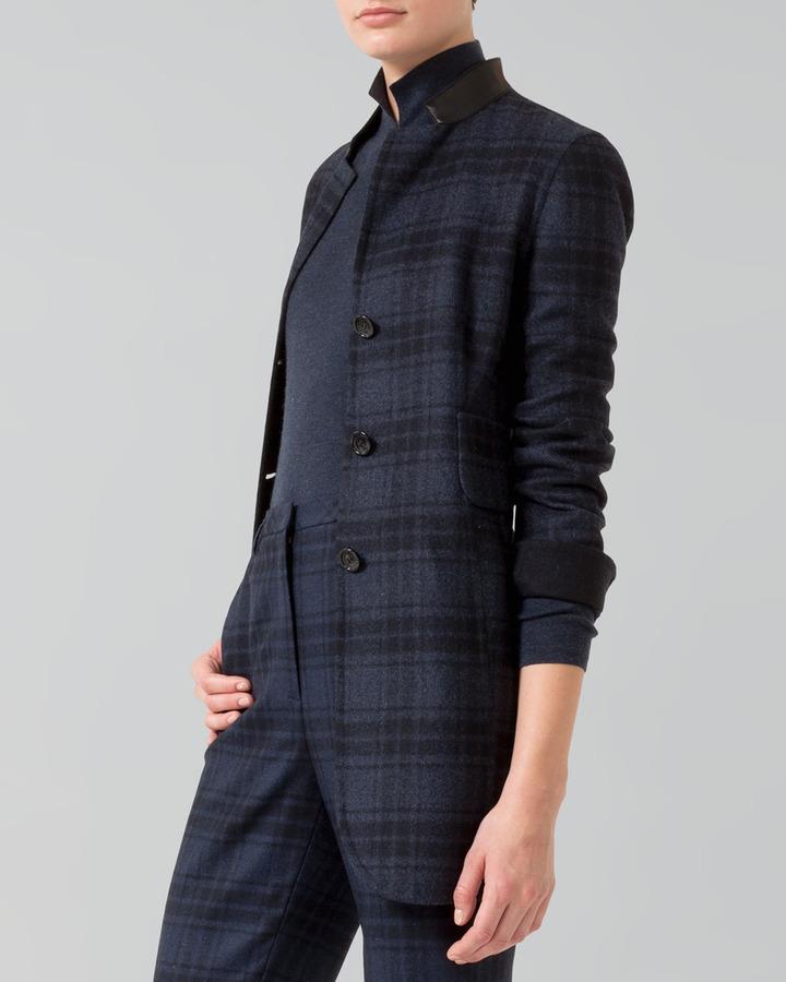 Akris Reversible Long Wool Flannel Jacket, Denim/Black