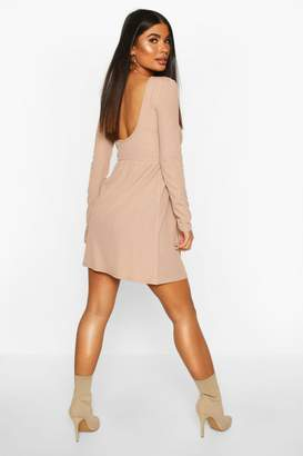 boohoo Petite Rib Scoop Back Skater Dress