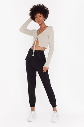 Nasty Gal Womens Driver's Seat Belted Jogger Trousers - Black - 6