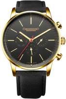 Julius JAH-093 Male Men's Black Tone Swiss Quartz Analog Calendar Waterproof Fashion Leather Watch