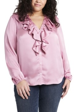 1 STATE Women's Plus Size Ruffle Neck Button Front Top