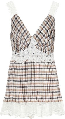 Paco Rabanne Checked plisse crepe top