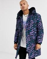 Asos Design DESIGN hooded parka jacket in purple tiger print