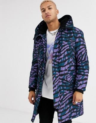 ASOS DESIGN hooded parka jacket in purple tiger print
