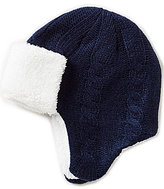 Class Club Cable-Knit Faux-Sherpa-Trimmed Pilot Hat