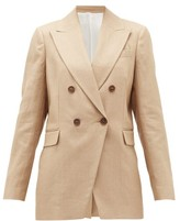Brunello Cucinelli Double-breasted Technical-twill Suit Jacket - Womens - Beige
