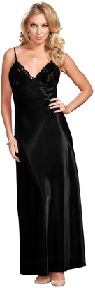 iCollection Women's Long Lace Trimmed Satin Gown